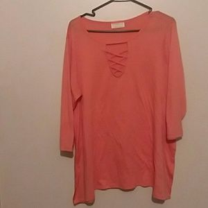 NWT Peach Lace Up Neck Tunic